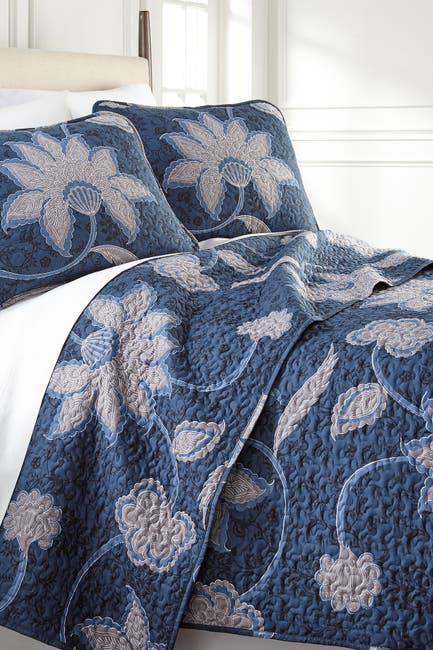 Image of SOUTHSHORE FINE LINENS Full/Queen Sized Luxury Premium Collection Ultra-Soft Quilt Cover Set - Floral Blue