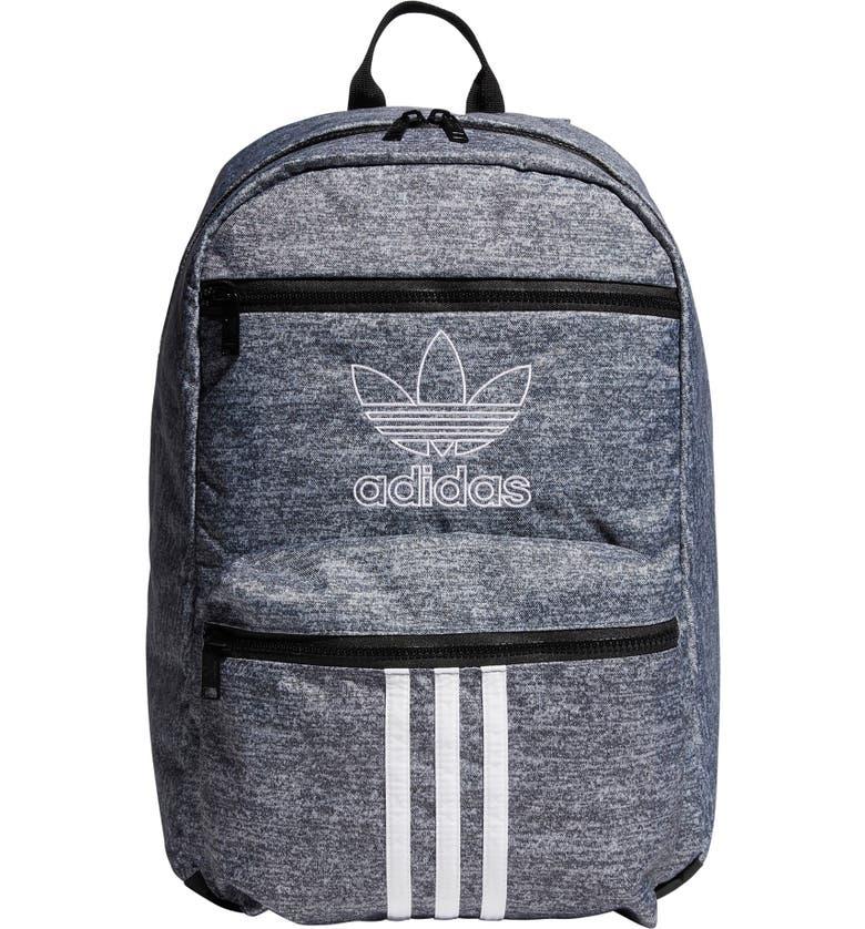 ADIDAS ORIGINALS National 3-Stripes Backpack, Main, color, ONIZ JERSEY BLACK