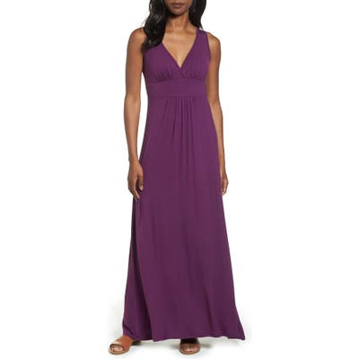 Petite Loveappella V-Neck Jersey Maxi Dress, Purple