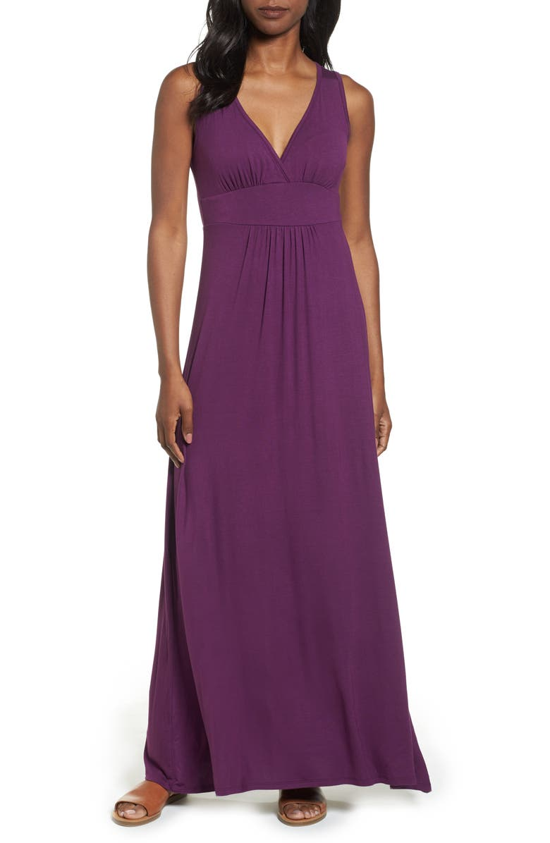 LOVEAPPELLA V-Neck Jersey Maxi Dress, Main, color, PURPLE DARK