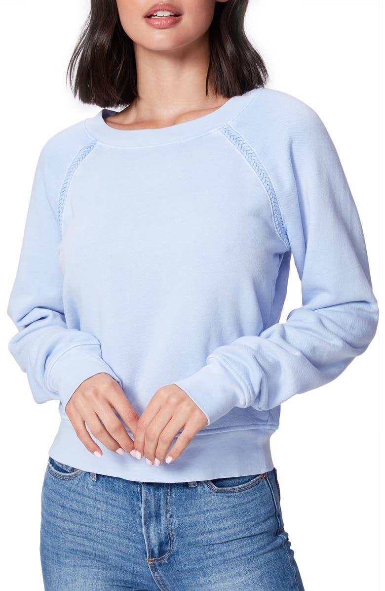 PAIGE Daytona Braid Trim Sweatshirt, Main, color, DREAM BLUE