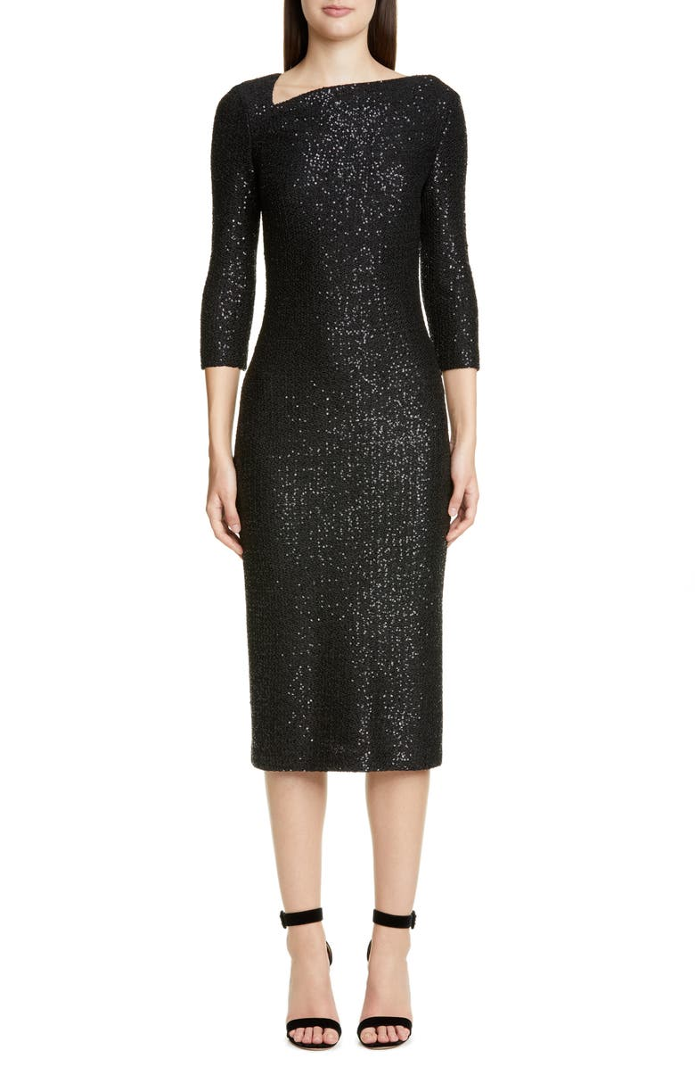 ST. JOHN COLLECTION Statement Sequin Knit Midi Dress, Main, color, CAVIAR