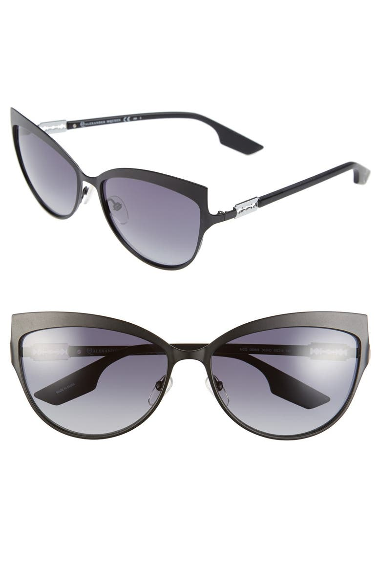 MCQ ALEXANDER MCQUEEN McQ by Alexander McQueen 'Butterfly' 60mm Stainless Steel Sunglasses, Main, color, 001
