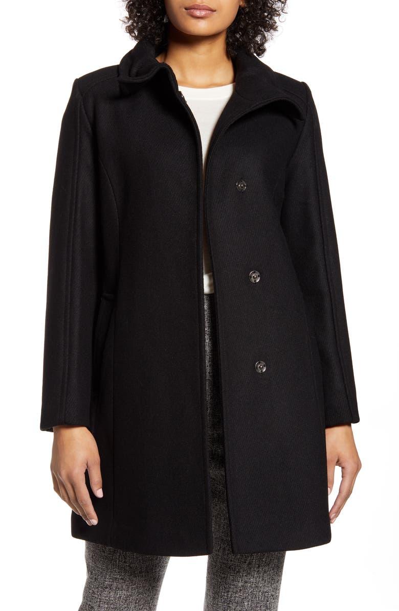 COLE HAAN SIGNATURE Wool Blend Car Coat, Main, color, BLACK