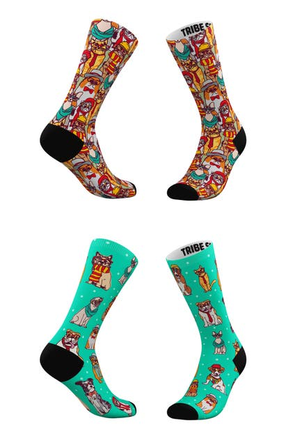 Tribe Socks ASSORTED 2-PACK HIPSTER CATS & HIPSTER PETS CREW SOCKS