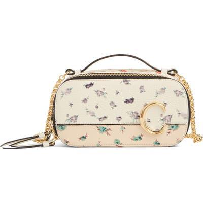 Chloe C Floral Print Leather Crossbody Bag - Ivory