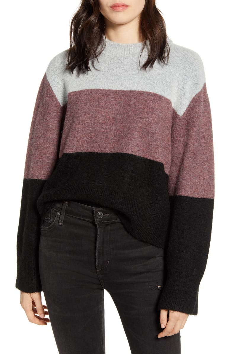 REBECCA MINKOFF Miller Love Sweater, Main, color, GREY MULTI
