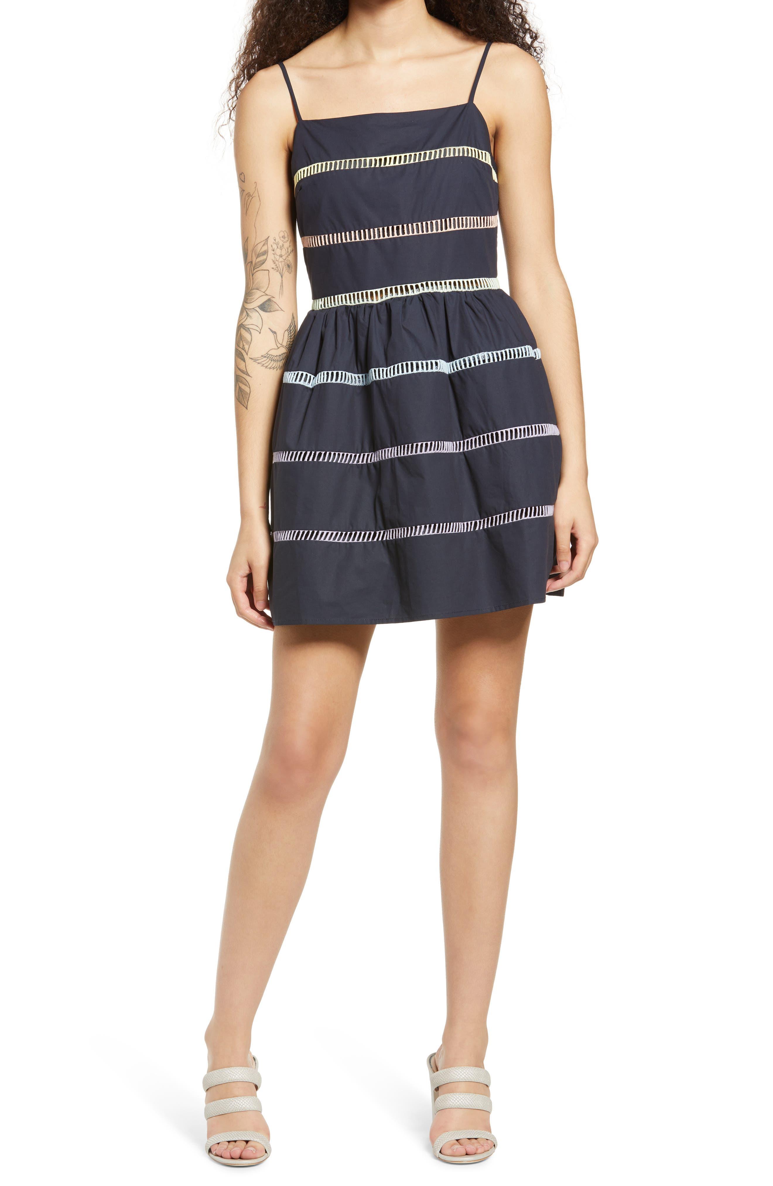 Ladder Stitch Fit & Flare Dress