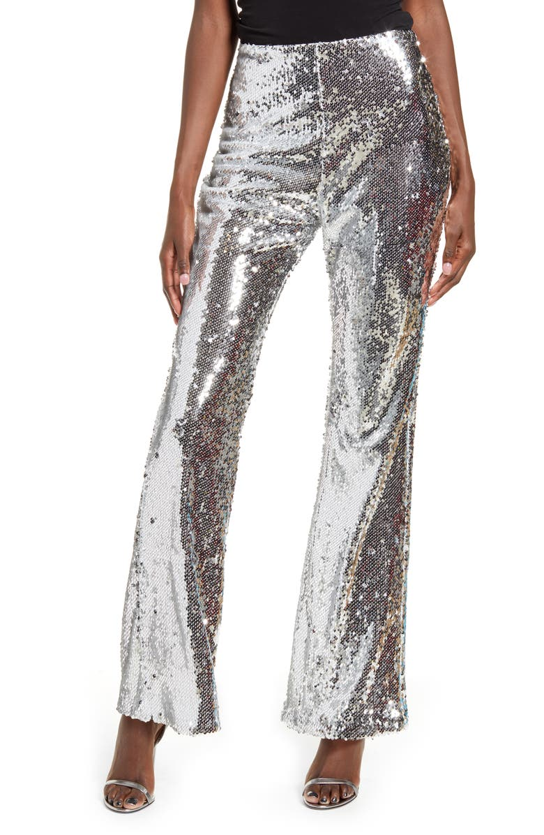ENDLESS ROSE Sequin Flare Pants, Main, color, SILVER