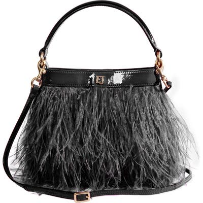 Eric Javits Shindig Ostrich Feather Top Handle Bag - Black