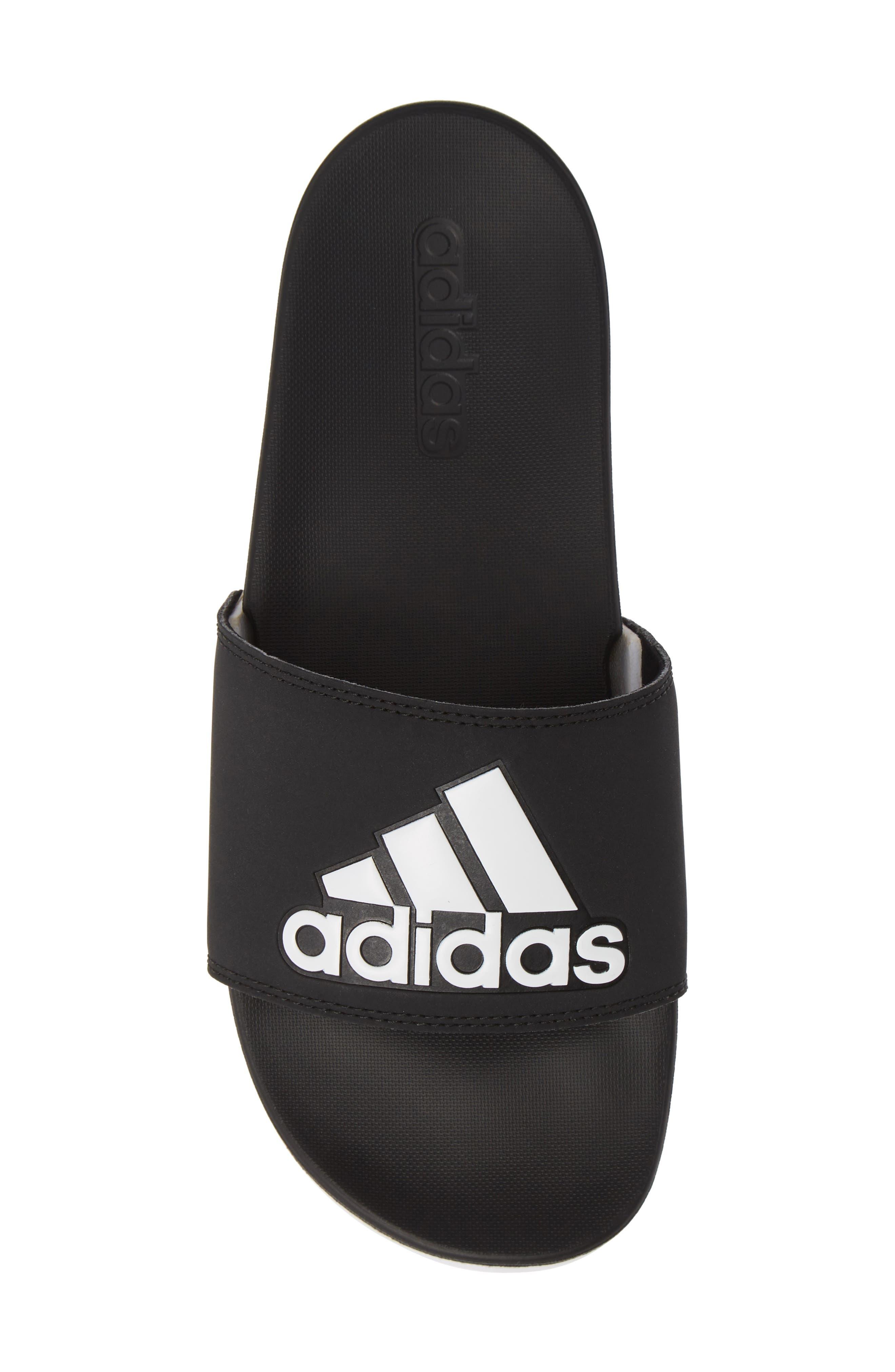 ,                             Adilette Comfort Slide Sandal,                             Alternate thumbnail 5, color,                             BLACK/ BLACK/ WHITE