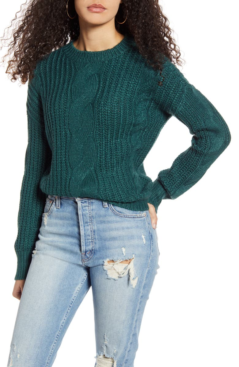BP. Cable Knit Sweater, Main, color, GREEN BUG