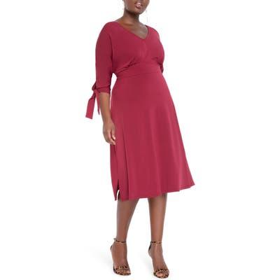 Plus Size Eloquii Tie Sleeve Stretch Matte Jersey Fit & Flare Dress, Burgundy