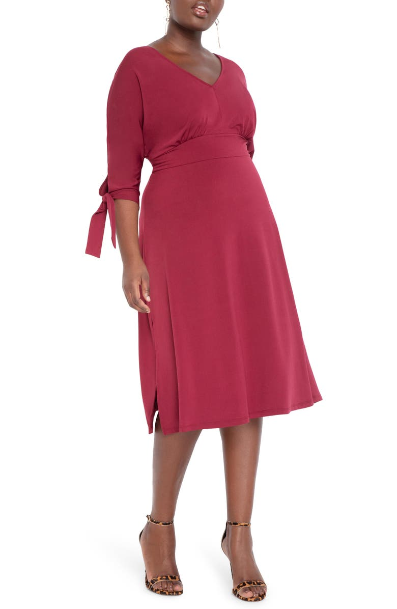 ELOQUII Tie Sleeve Stretch Matte Jersey Fit & Flare Dress, Main, color, ZINFANDEL