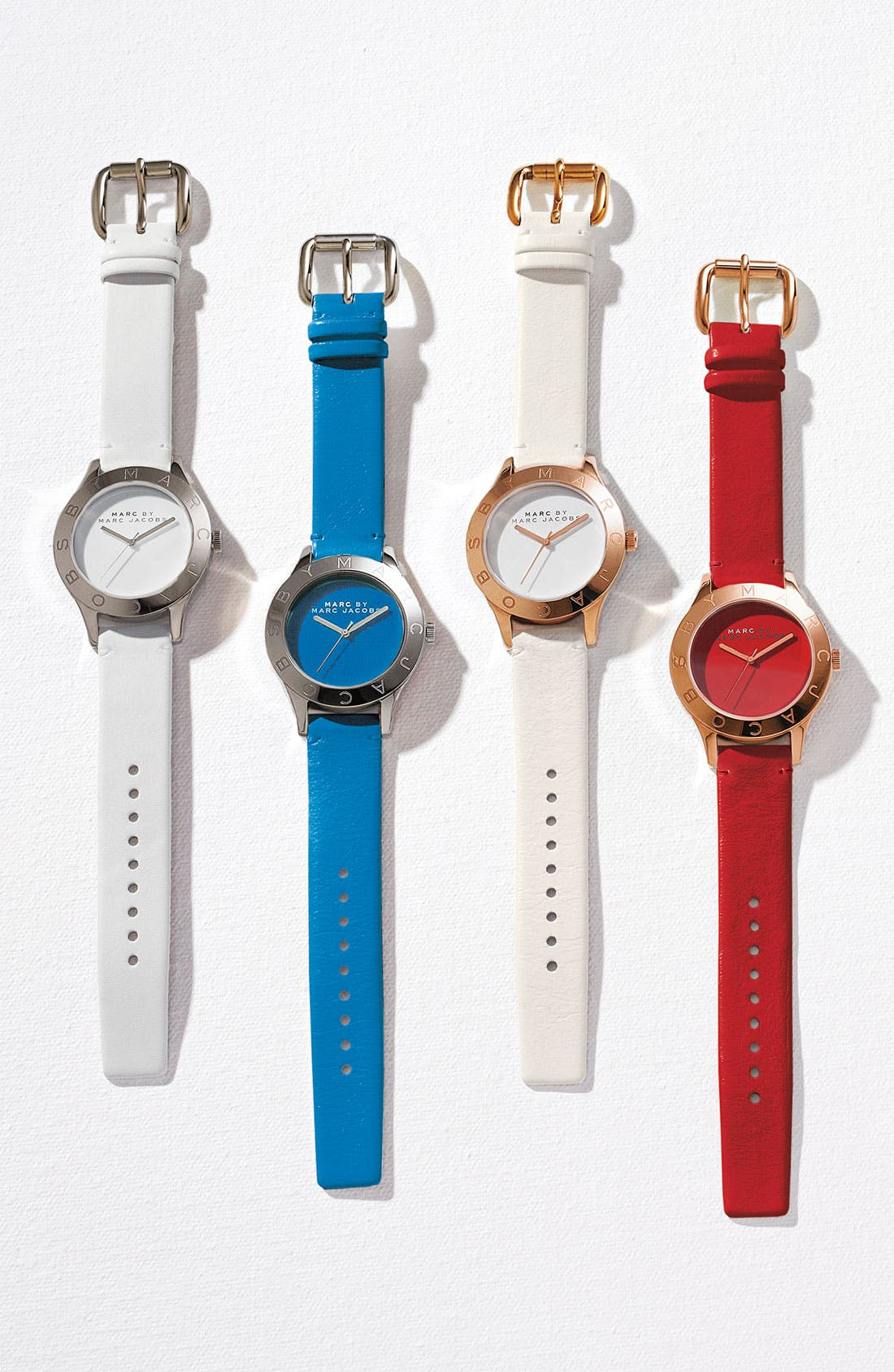 ,                             'Blade' Round Leather Strap Watch,                             Alternate thumbnail 2, color,                             001