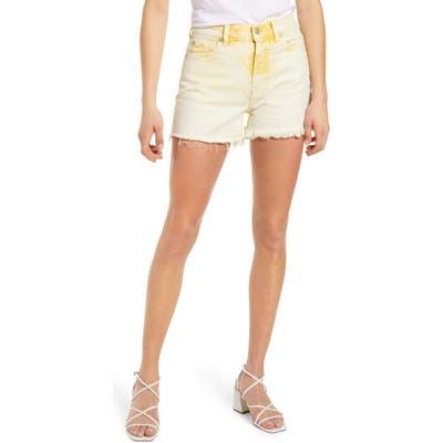 7 For All Mankind High Waist Cutoff Denim Shorts, 3 - Yellow