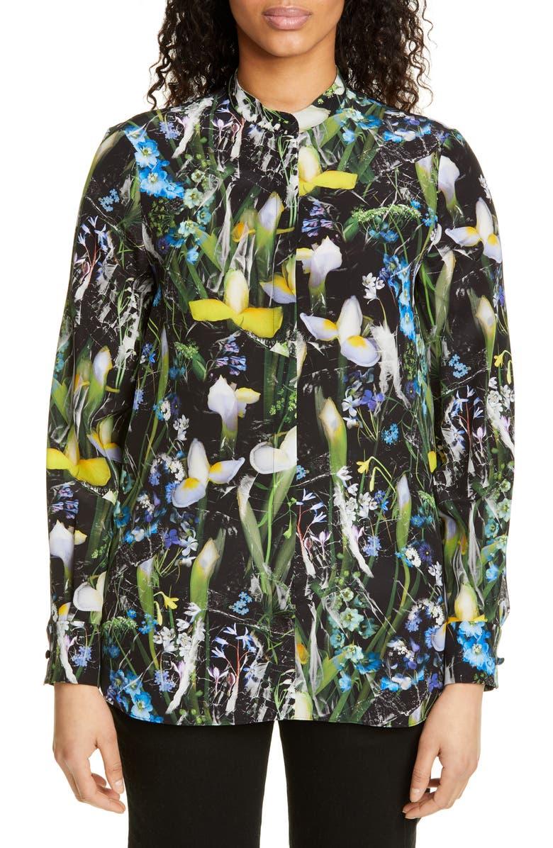 ALEXANDER MCQUEEN Ophelia Print Silk Blouse, Main, color, 001