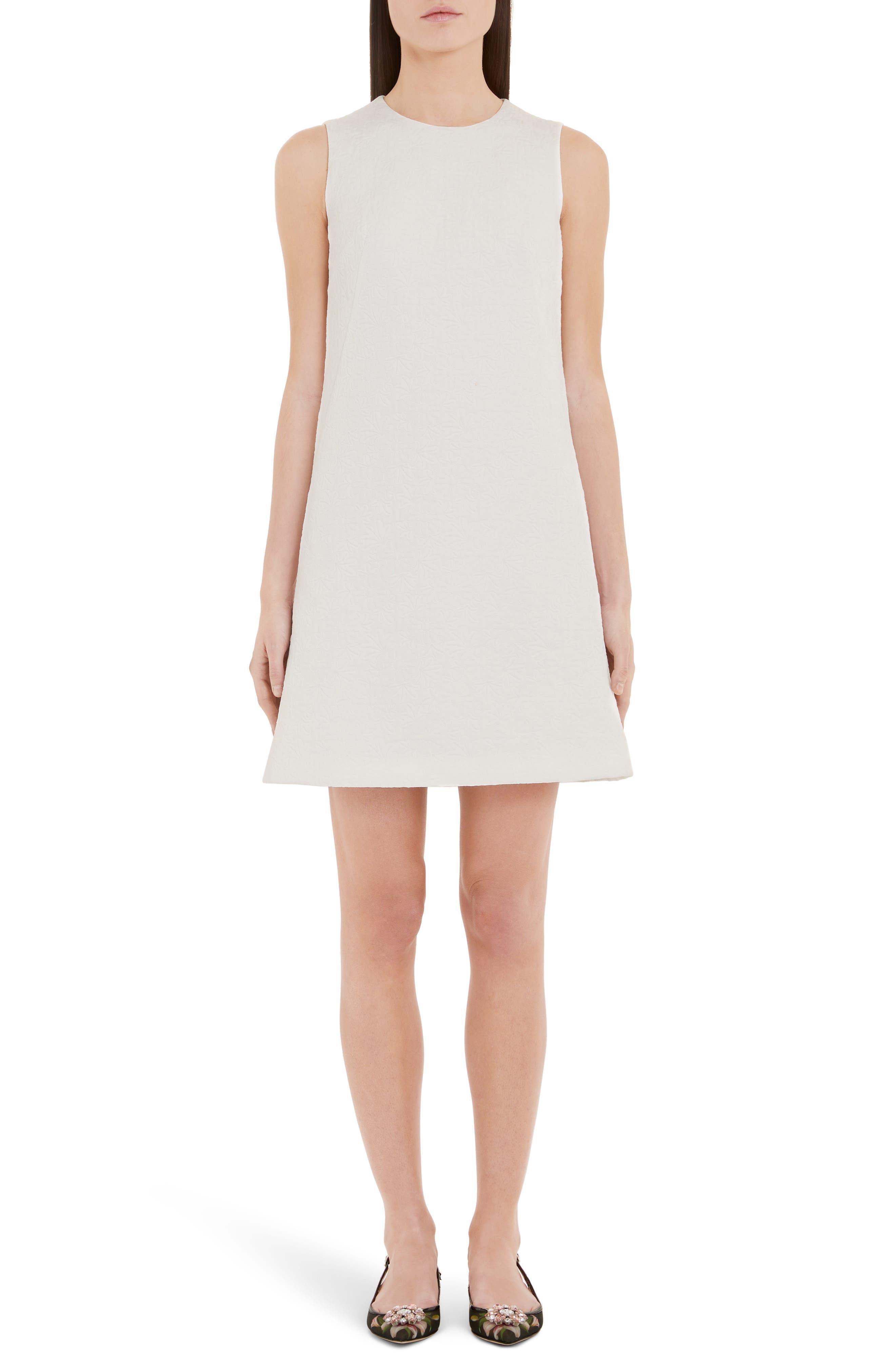 Dolce & gabbana Floral Jacquard Shift Dress, US / 40 IT - White