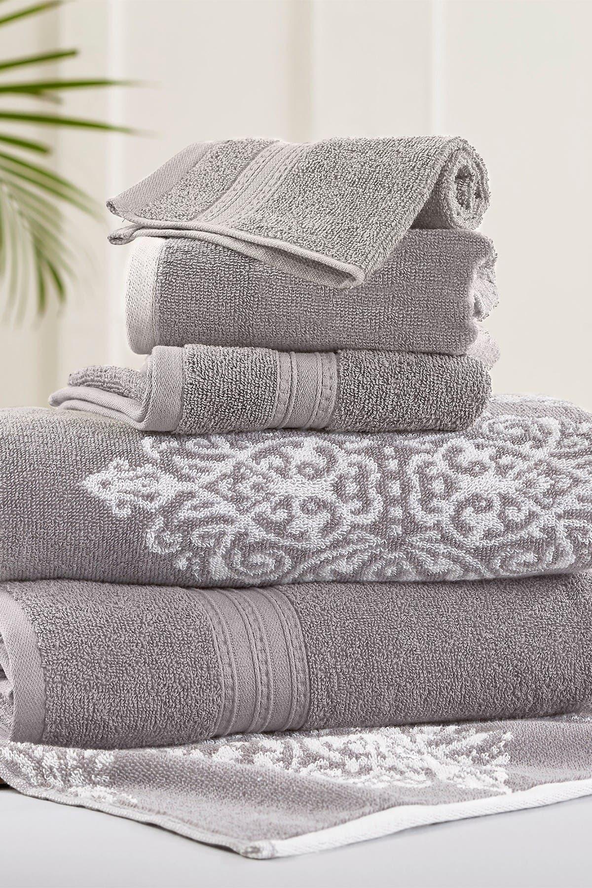 Image of Modern Threads Gray Artesia Damask Reversible Yarn-Dyed Jacquard 6-Piece Towel Set