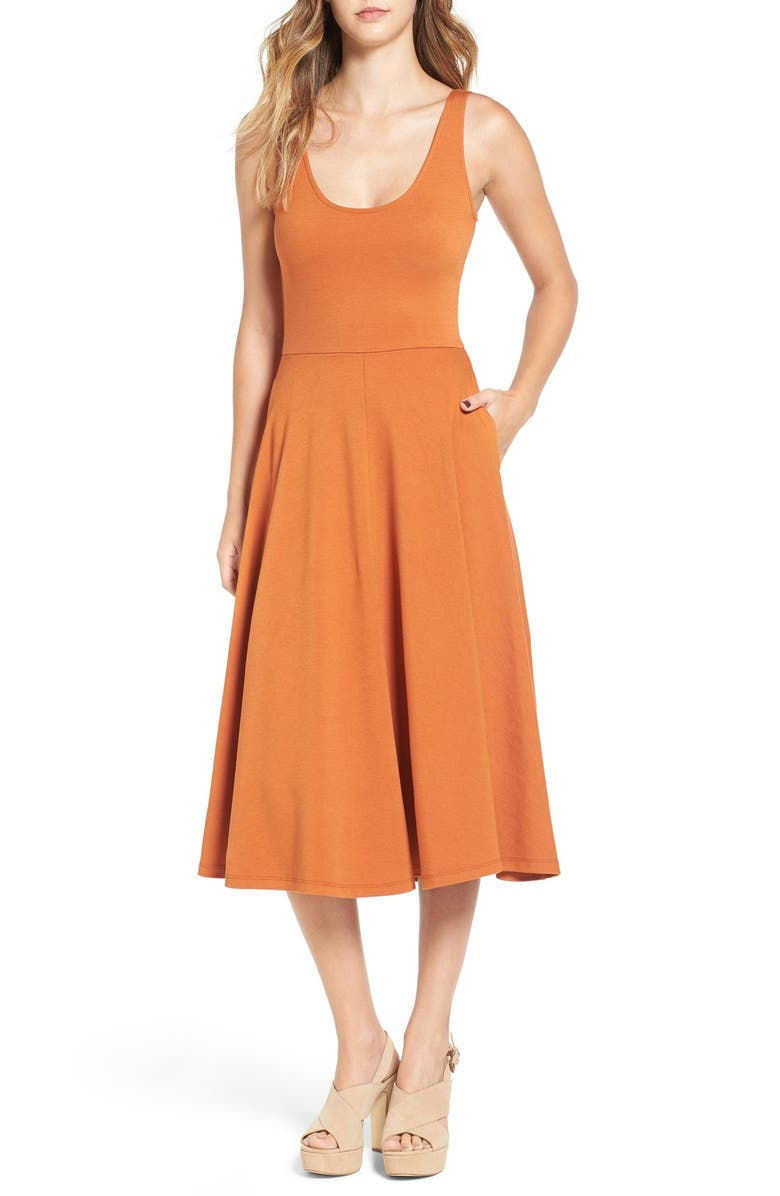 LEITH Stretch Knit Midi Dress, Main, color, 230