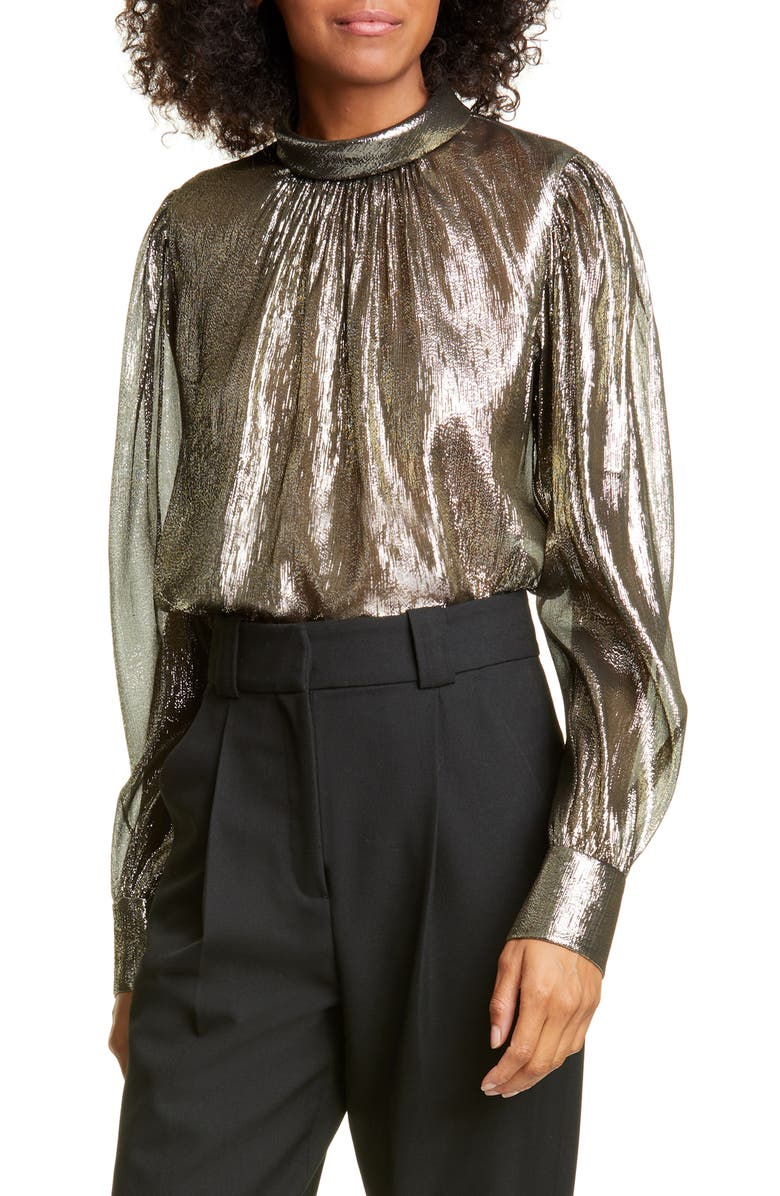 A.L.C. Lydia Metallic Silk Blouse, Main, color, BLACK/ GOLD