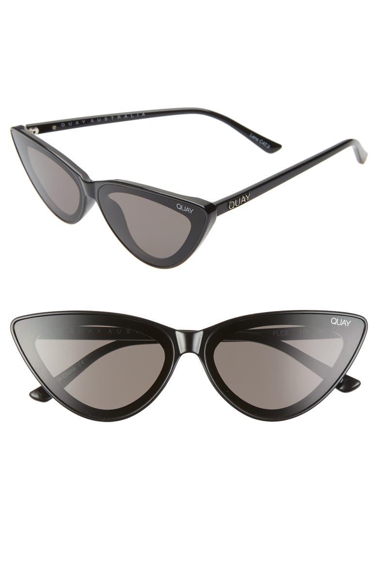QUAY AUSTRALIA x Lizzo Flex 47mm Cat Eye Sunglasses, Main, color, BLACK/ SMOKE
