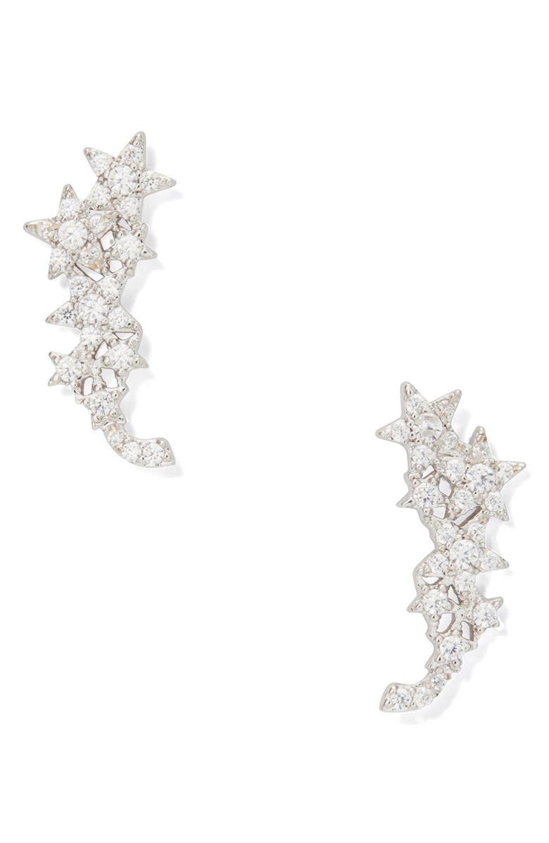 KATE SPADE NEW YORK stargaze ear crawlers, Main, color, CLEAR/ SILVER
