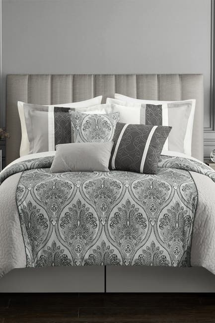 Image of Chic Home Bedding Eurythmics Two-Tone Damask Pattern Queen Comforter Set - Grey - 7-Piece Set