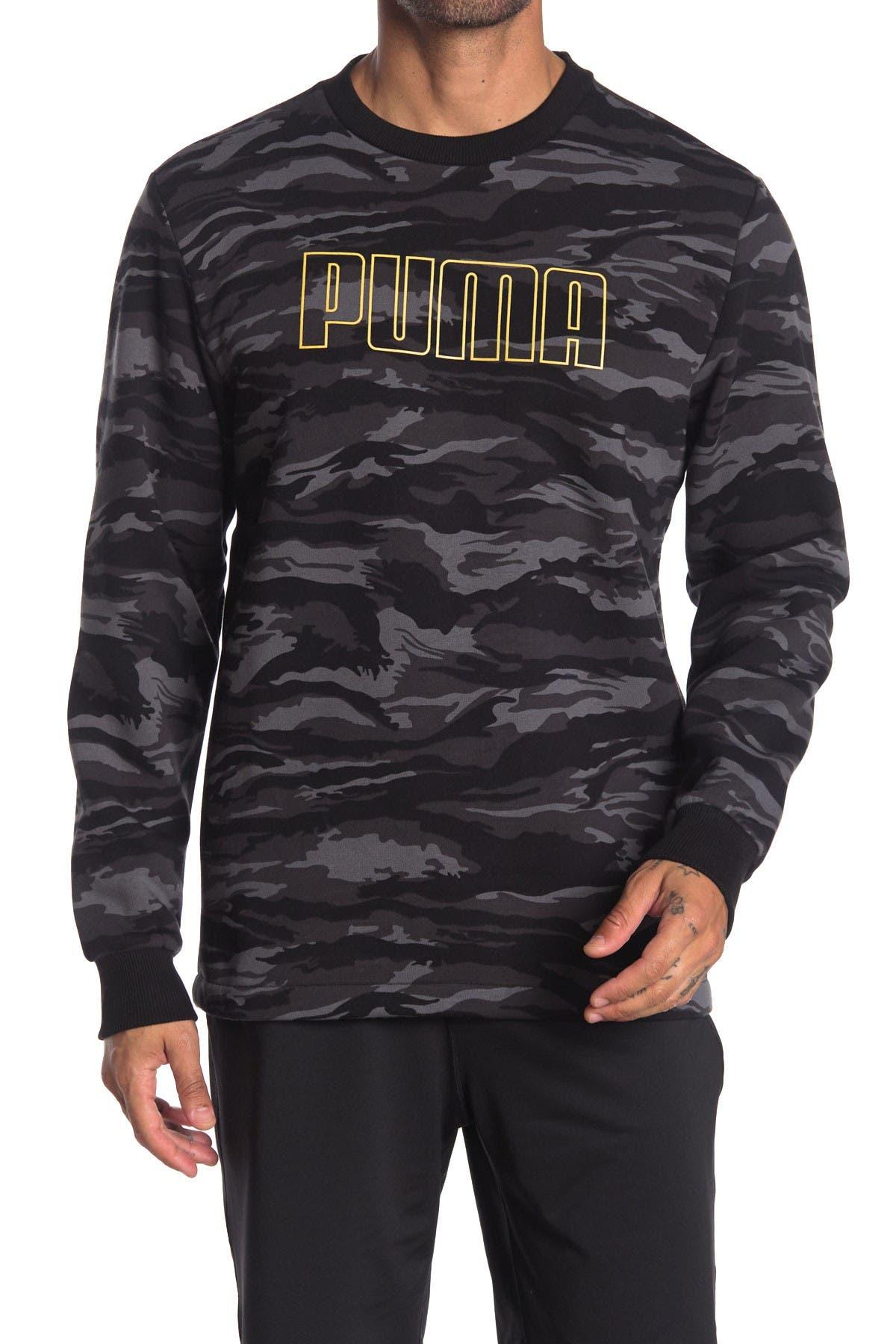 Image of PUMA Logo Camo Fleece Sweatshirt