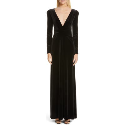 Emporio Armani Plunge Neck Long Sleeve Velvet Gown, US / 40 IT - Black