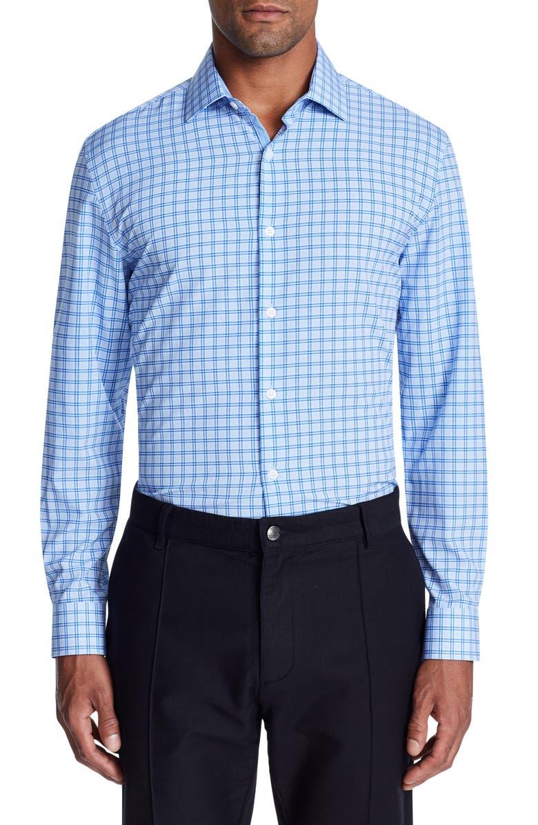 W.R.K Trim Fit Performance Check Dress Shirt, Main, color, BLUE