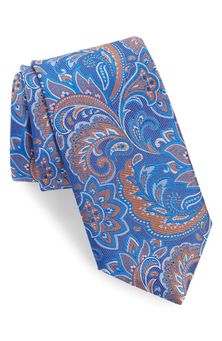 DAVID DONAHUE Paisley Silk X-Long Tie, Main, color, MELON