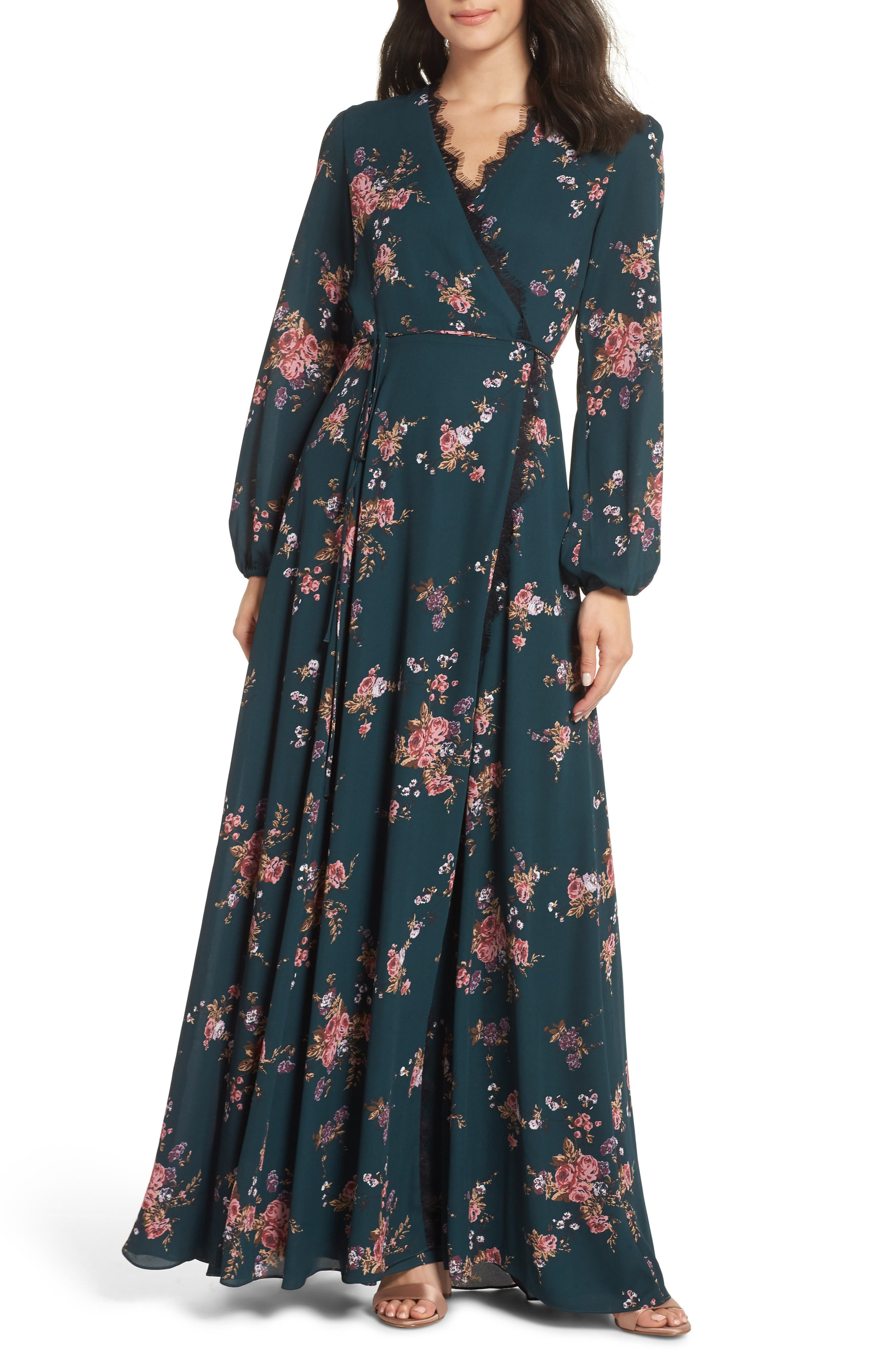 Wayf The Violet Floral Print Wrap Gown, Blue