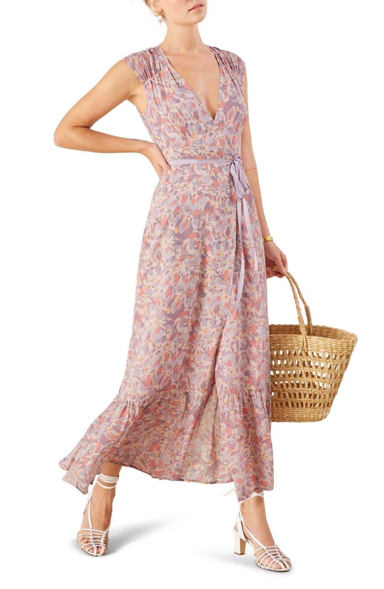 REFORMATION Haven Wrap Maxi Dress, Main, color, 500