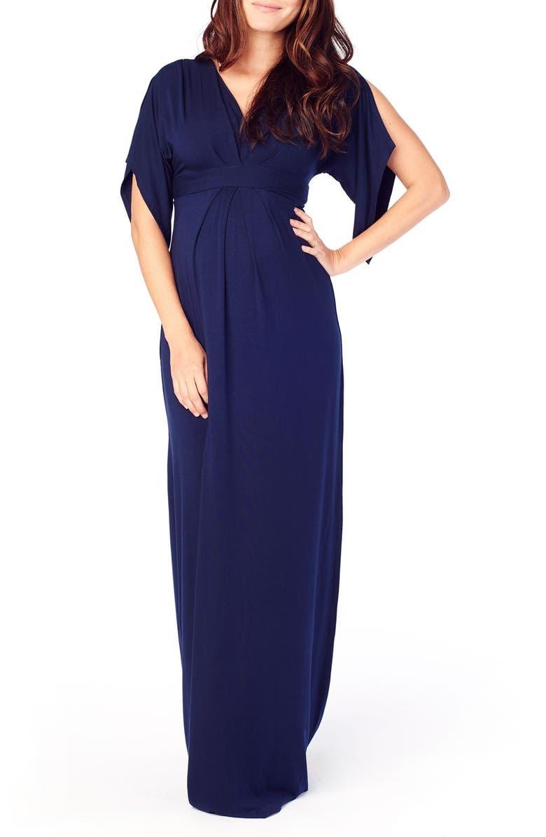 7fb705b391d Ingrid & Isabel Split Sleeve Maternity Maxi Dress, Main, color, TRUE NAVY