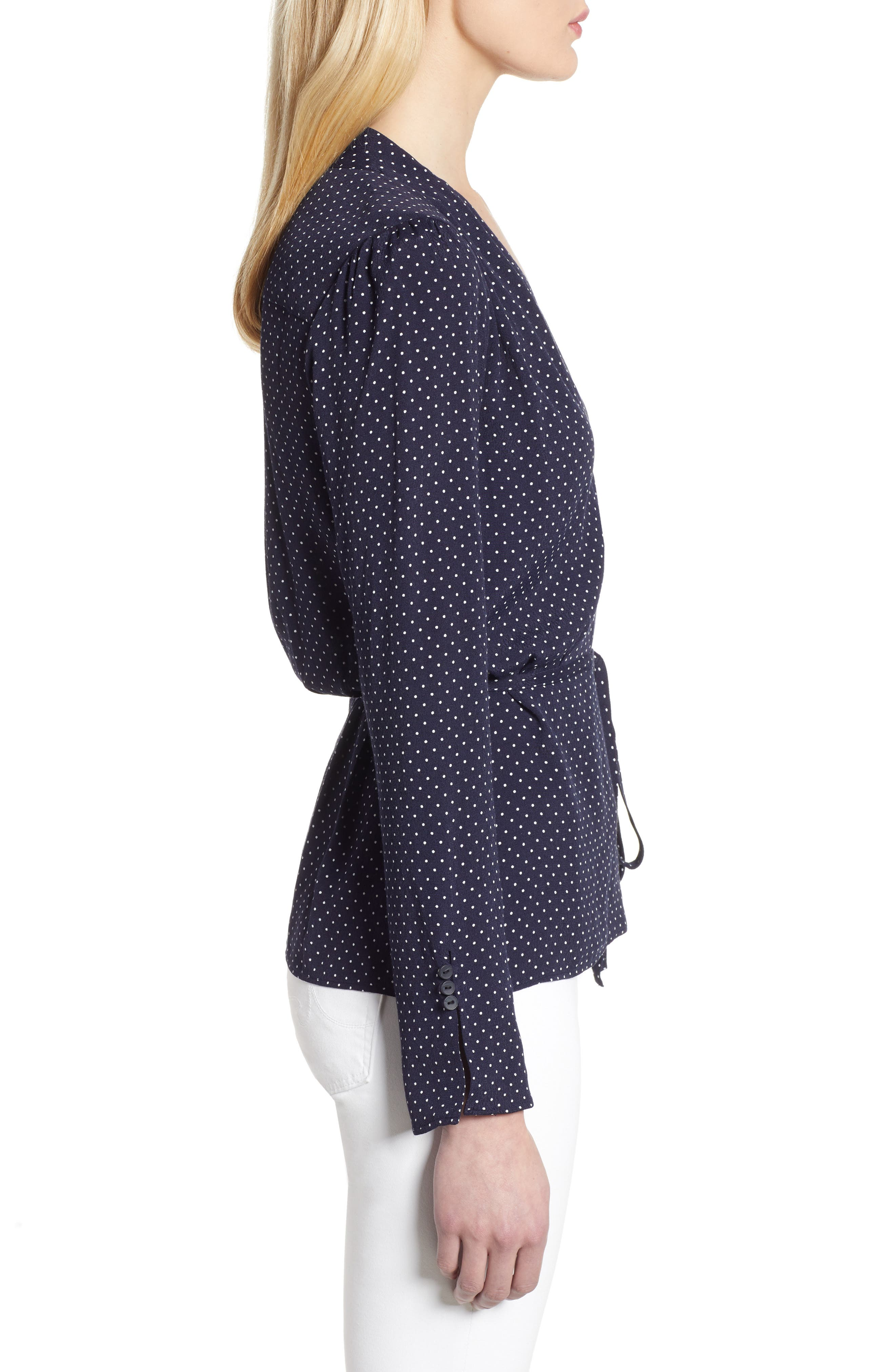,                             Tie Waist Wrap Top,                             Alternate thumbnail 3, color,                             NAVY NIGHT MINI DOT
