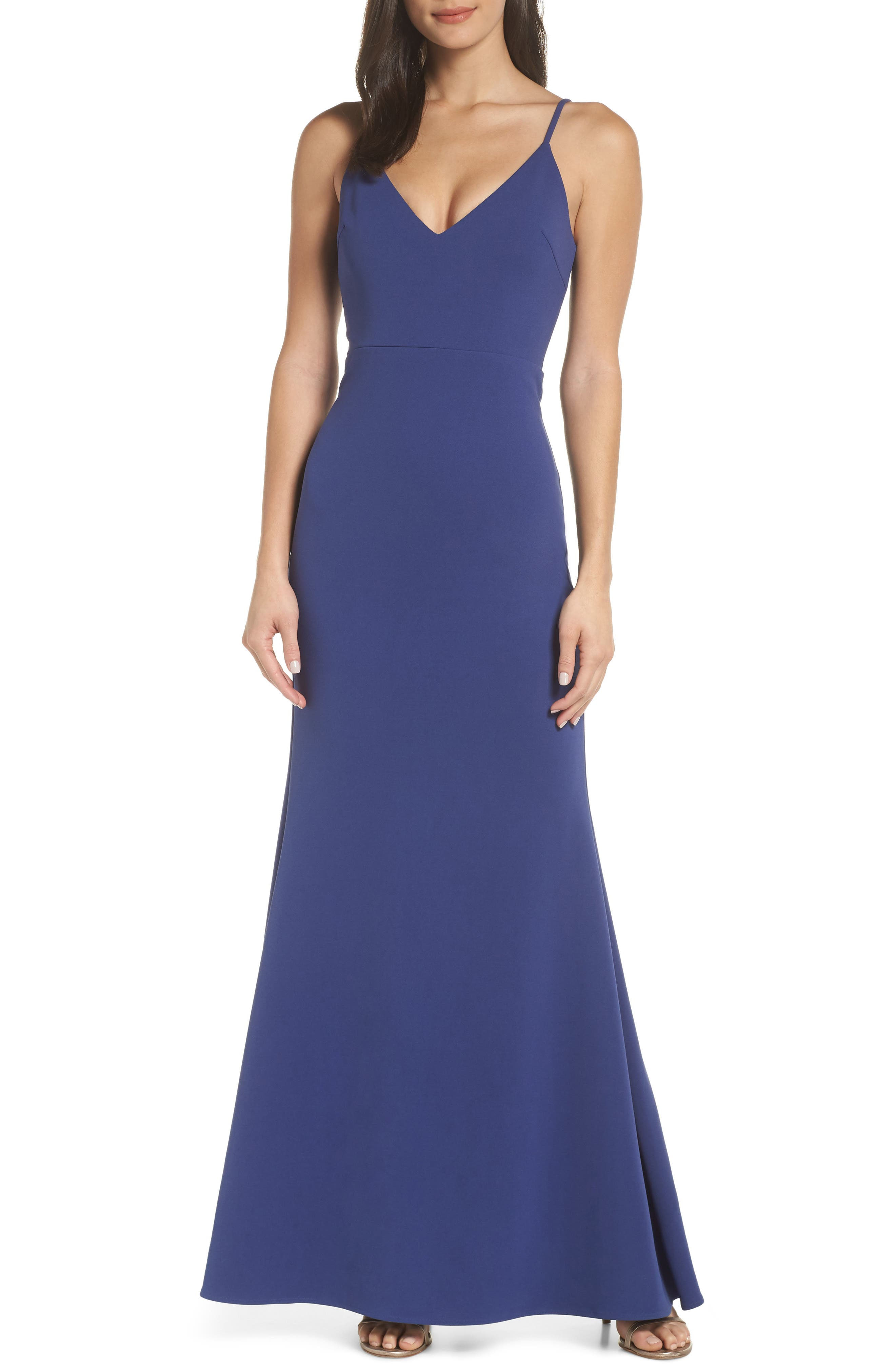 Lulus V-Neck Trumpet Gown, Blue