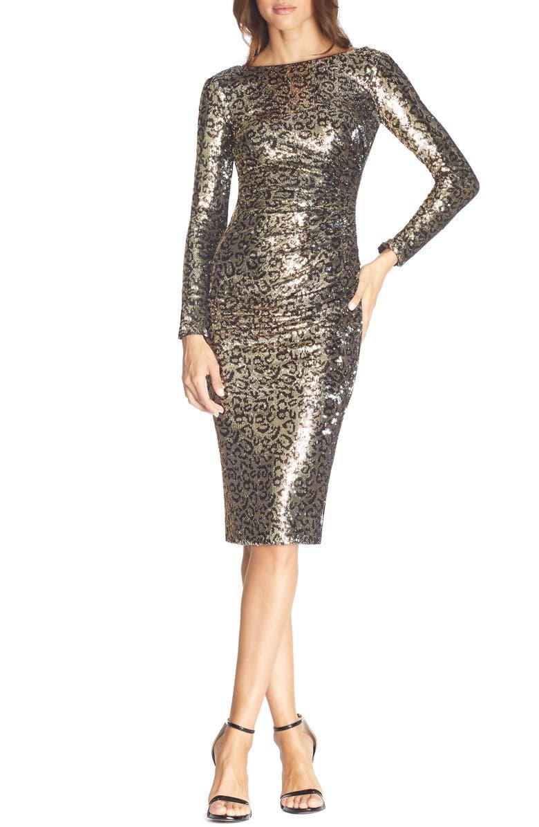 DRESS THE POPULATION Emilia Leopard Sequin Long Sleeve Cocktail Dress, Main, color, GOLD LEOPARD MULTI