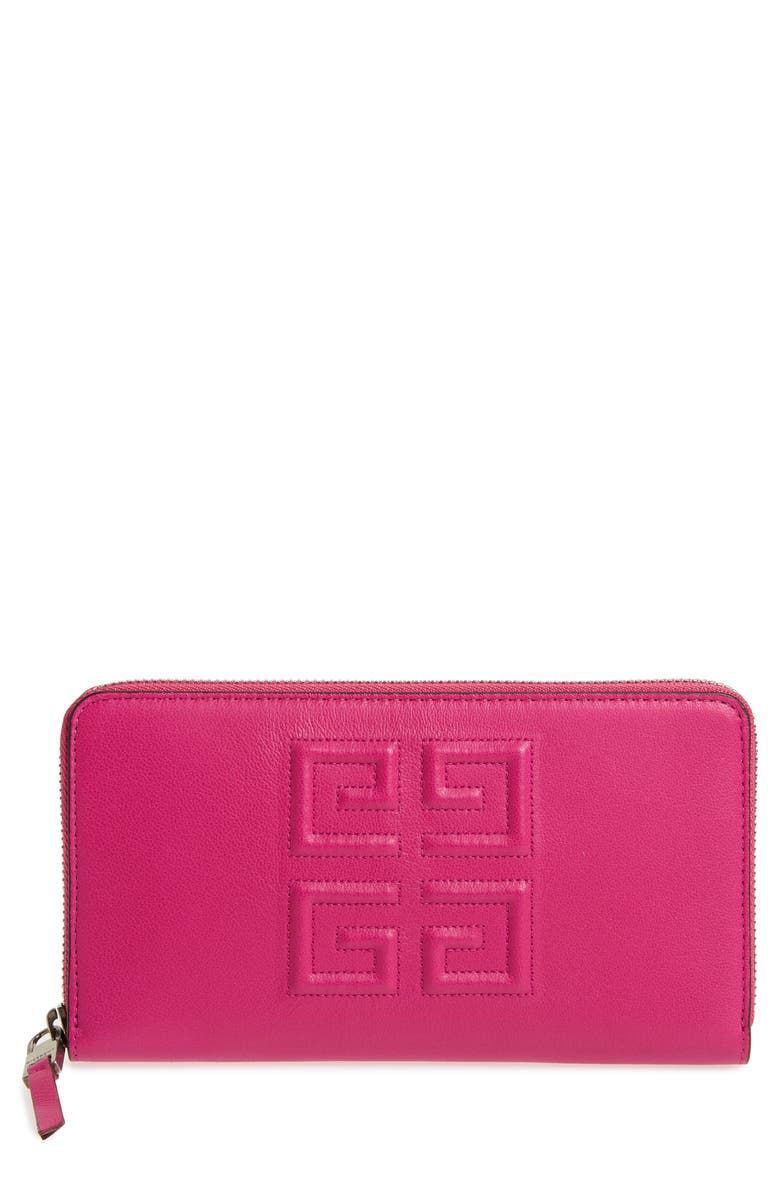 GIVENCHY Embossed Logo Leather Zip Around Wallet, Main, color, 678
