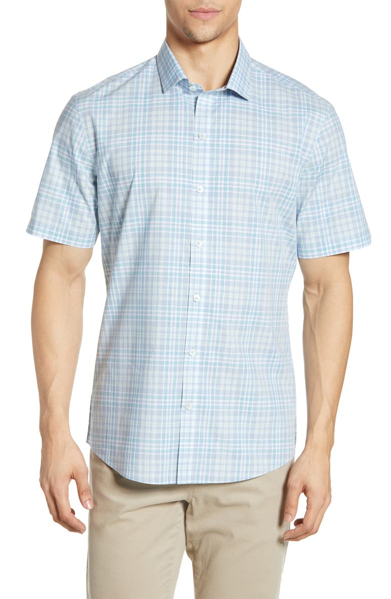 ZACHARY PRELL Trace Regular Fit Windowpane Shirt, Main, color, 332