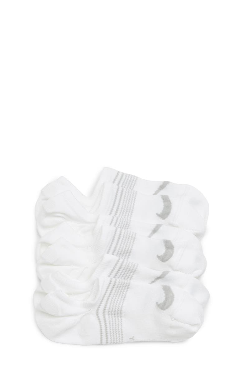 NIKE 3-Pack No-Show Socks, Main, color, WHITE/ WOLF GREY