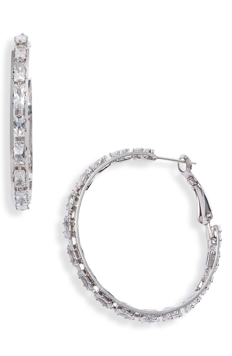 8 OTHER REASONS Nikki Crystal Hoop Earrings, Main, color, 040
