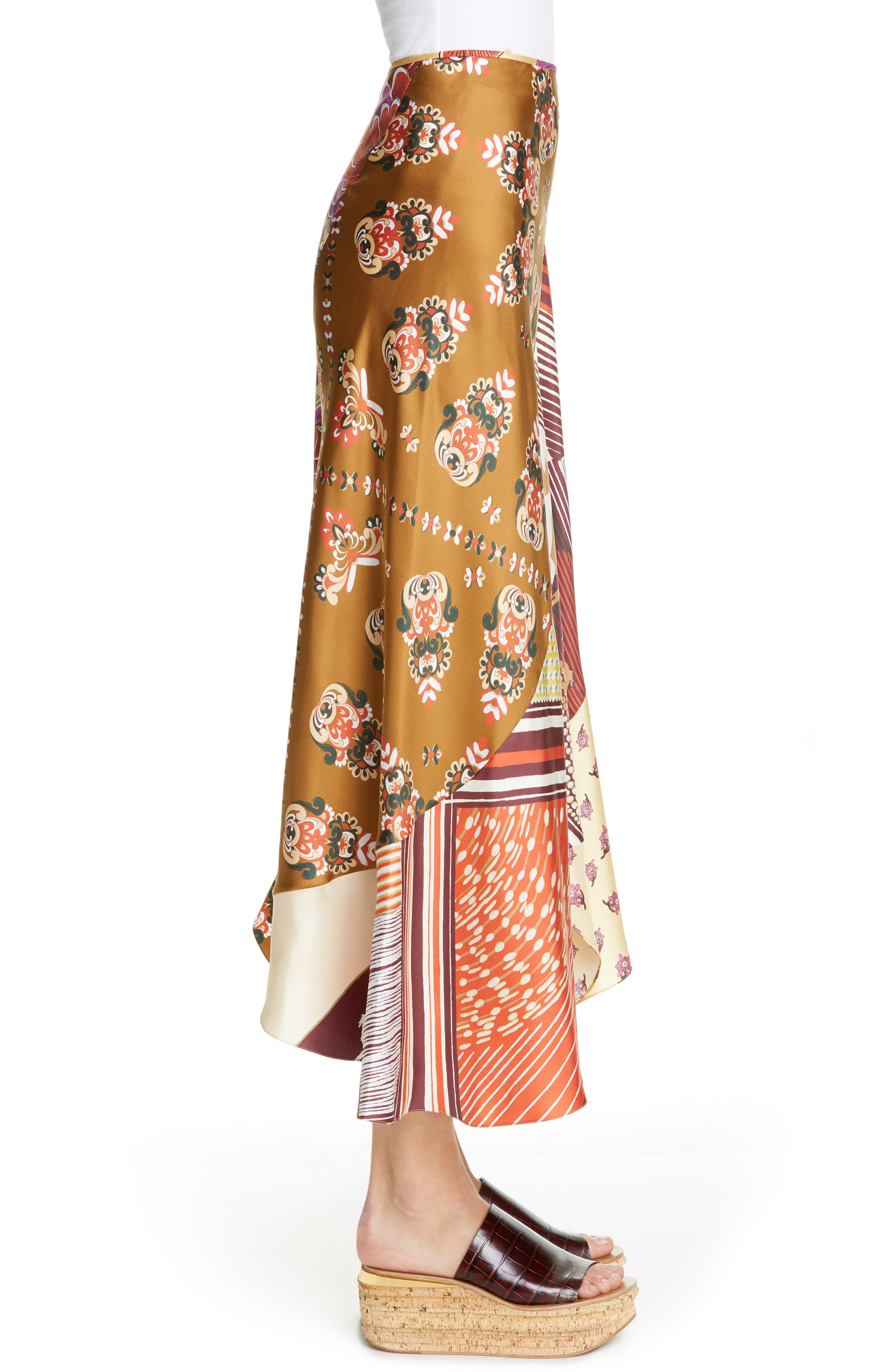 ,                             Mixed Print Bias Cut Silk Skirt,                             Alternate thumbnail 3, color,                             3ZA-MULTICOLOR GREEN 1