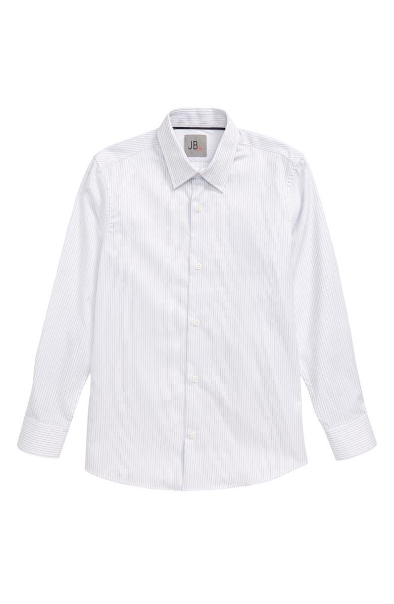 JB JR. Stripe Dress Shirt, Main, color, WHITE