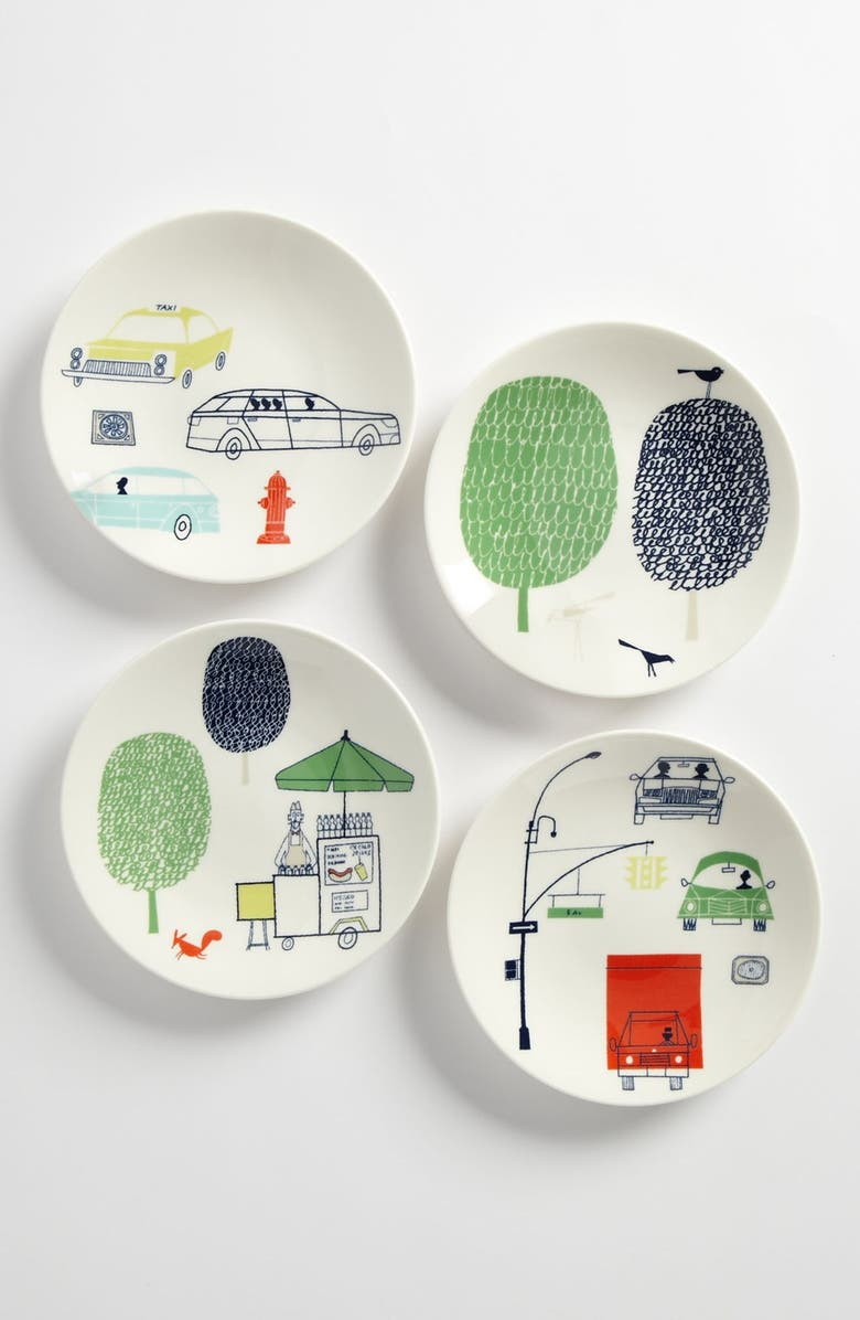 KATE SPADE NEW YORK 'hopscotch drive about town' tidbit plates, Main, color, 100