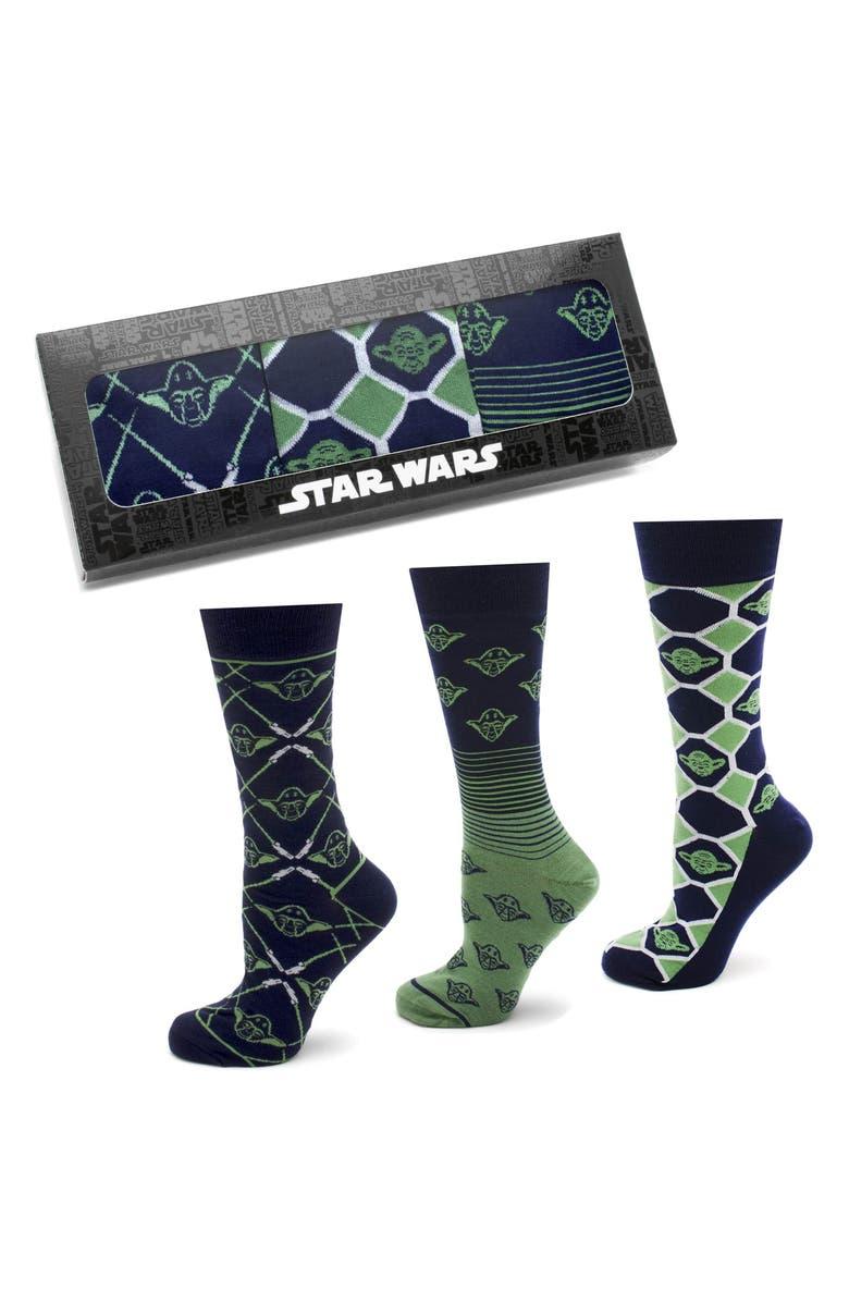 CUFFLINKS, INC. Wise Yoda 3-Pack Socks, Main, color, GREEN
