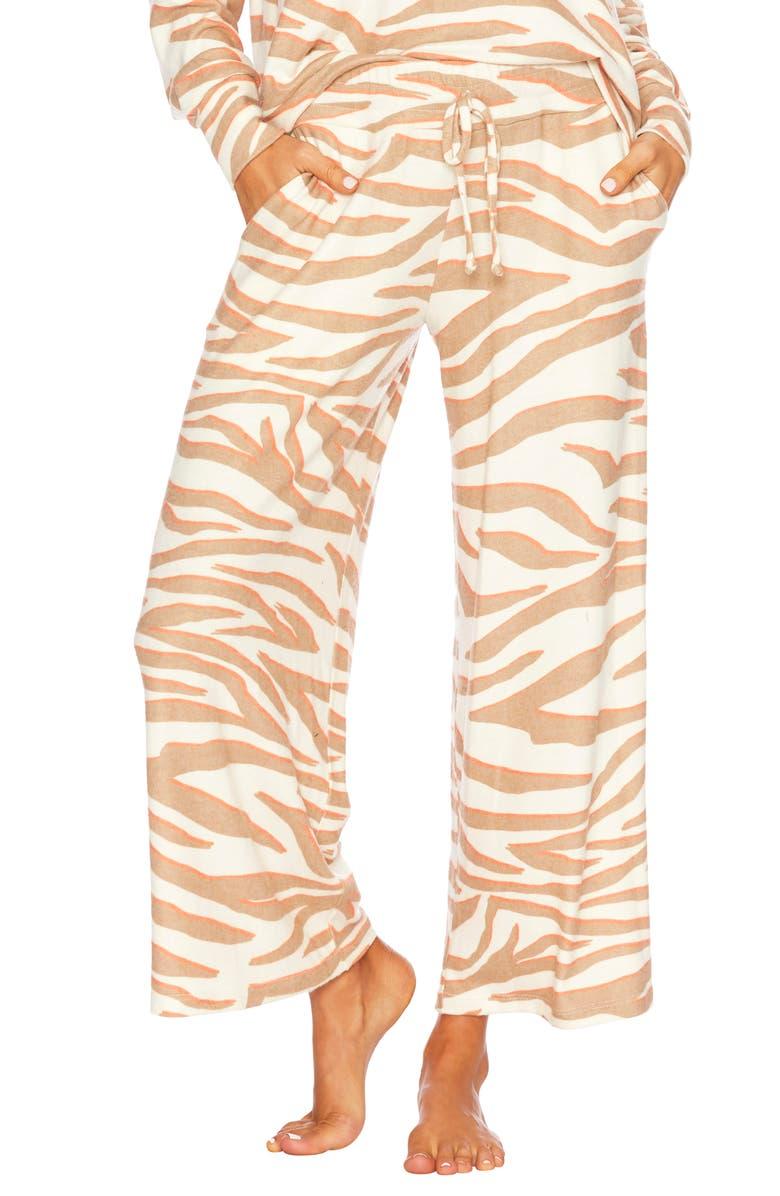 BEACH RIOT Hailey Wide Leg Pants, Main, color, CLOUD CREAM ZEBRA