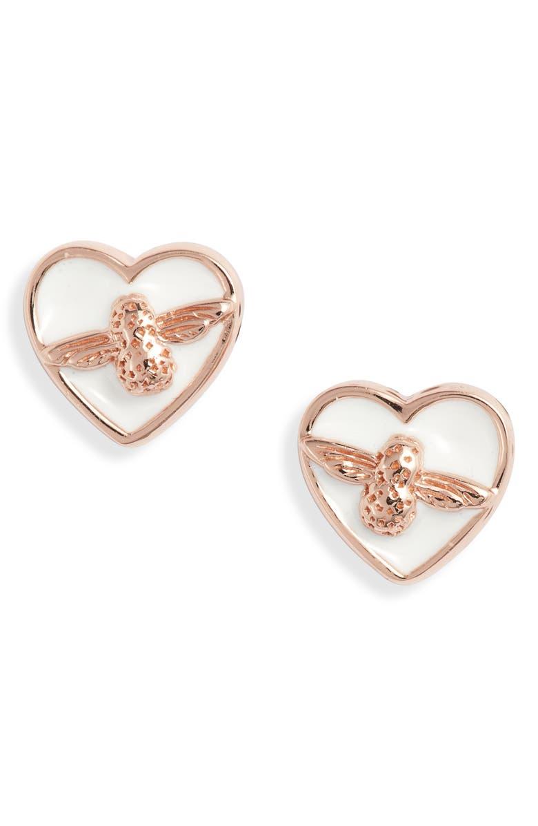 OLIVIA BURTON Love Bug Stud Earrings, Main, color, ROSE GOLD