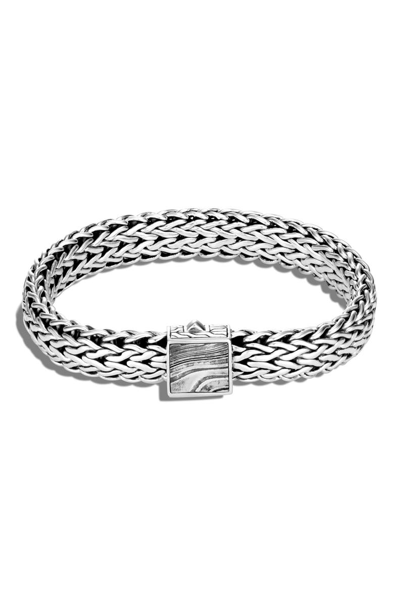 JOHN HARDY Men's Classic Chain Large Flat Chain 11mm Bracelet with Damascus Steel, Main, color, SILVER/ STEEL