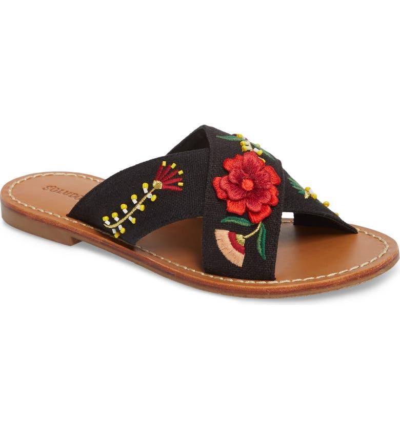 SOLUDOS Embellished Floral Sandal, Main, color, Black